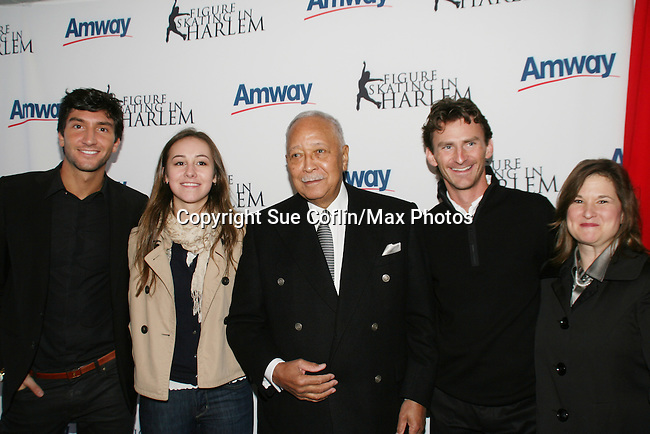 Olympic skaters: Evan Lysacek, Kimmie Messner, former Mayor David Dinkins, Todd Eldredge at the 2009 Skating with the Stars - a benefit gala for Figure Skating in Harlem on April 6, 2009 at Wollman Rink, Central Park, NYC, NY. (Photo by  Sue Coflin/Max Photos)
