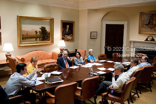 Washington, DC - August 7, 2009 -- United States President Barack Obama attends a health care meeting in the Roosevelt Room of the White House,  August 7, 2009.  From left; Director of the Office of Management and Budget Peter Orszag,  Counsel of Economic Advisors Chair Christy Romer,  Assistant to the President for Legislative Affairs Phil Schiliro, Director of the Office of Health Reform Nancy-Ann Deparle, Health and Human Services Secretary Kathleen Sebelius, Chief of Staff Rahm Emanuel, President Obama, and Senior Advisor David Axelrod.  (Official White House Photo by Pete Souza)..This official White House photograph is being made available only for publication by news organizations and/or for personal use printing by the subject(s) of the photograph. The photograph may not be manipulated in any way and may not be used in commercial or political materials, advertisements, emails, products, promotions that in any way suggests approval or endorsement of the President, the First Family, or the White House. .Mandatory Credit: Pete Souza - White House via CNP