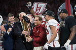 ATLANTA, GA - JANUARY 08: Head Coach Nick Saban of the Alabama Crimson Tide celebrates after defeating the Georgia Bulldogs during the College Football Playoff National Championship held at Mercedes-Benz Stadium on January 8, 2018 in Atlanta, Georgia. Alabama defeated Georgia 26-23 for the national title. (Photo by Jamie Schwaberow/Getty Images)