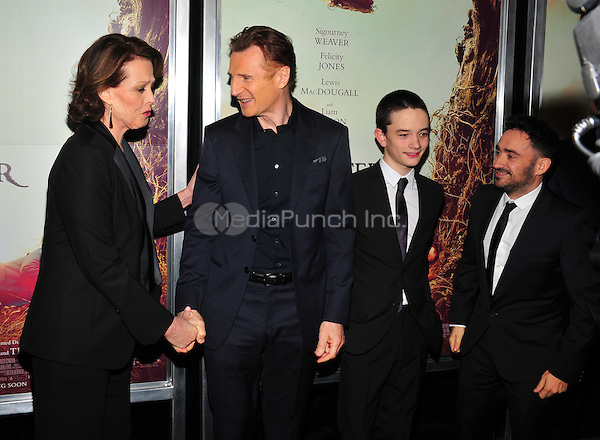 New York, NY: December 7: Sigourney Weaver, Liam Neeson, Lewis MacDougal, J.A.Bayona attends 'A Monster Calls' New York Premiere at AMC Loews Lincoln Square 13 theater on December 7, 2016 in New York City.@John Palmer / Media Punch