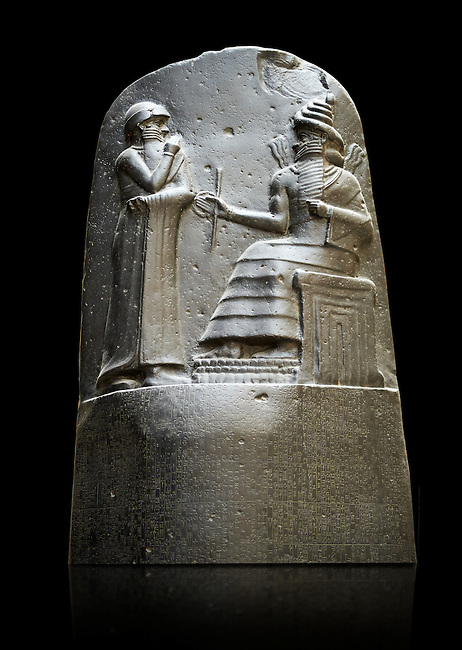 Babylonian Hammurabi stone relief sculpture. Hammurabi was the sixth Amorite king of Babylon from 1792 BC to 1750 BC . Hammurabi (standing), depicted as receiving his royal insignia from Shamash. Hammurabi holds his hands over his mouth as a sign of prayer. The Vorderasiatisches Museum, part of the Pergamon Museum, Berlin