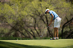 19 MAY 2016: Eli Armstrong of Central Oklahoma attempts a putt during the 2016 Division II Men's Individual Golf Championship held at Green Valley Ranch Golf Club in Denver, CO. Justin Tafoya/NCAA Photos