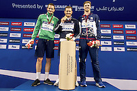 (L to R) ZORZI Giulio RSA; VAN Der BURGH Cameron RSA; CORDES Kevin USA<br /> 50 Breaststroke men<br /> FINA Airweave Swimming World Cup 2015<br /> Doha, Qatar 2015  Nov.2 nd - 3 rd<br /> Day1 - Nov. 2 nd Finals<br /> Photo G. Scala/Deepbluemedia