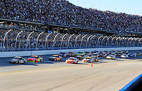 Nov. 1, 2009; Talladega, AL, USA; NASCAR Sprint Cup Series driver Dale Earnhardt Jr (88) leads teammate Jeff Gordon (24) during the Amp Energy 500 at the Talladega Superspeedway. Mandatory Credit: Mark J. Rebilas-