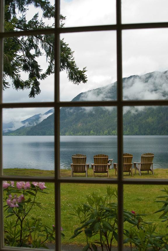 Through the Window at Lake Crescent Lodge, Olympic National Park, Washington, US