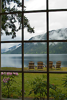 Through the Window at Lake Crescent Lodge, Olympic National Park, Washington, US