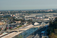 Los Angeles, CA, River Bridge, Metro, Train,  Speeding Elevated Bridge