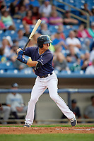 Lake County Captains shortstop Luke Wakamatsu (12) at bat during the second game of a doubleheader against the West Michigan Whitecaps on August 6, 2017 at Classic Park in Eastlake, Ohio.  West Michigan defeated Lake County 9-0.  (Mike Janes/Four Seam Images)