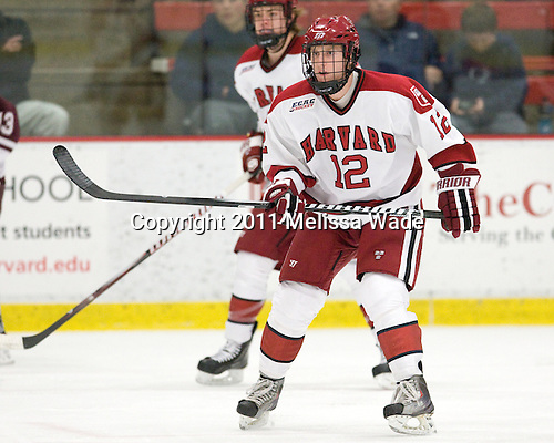 Colin Moore (Harvard - 12) - The Harvard University Crimson defeated the visiting Colgate University Raiders 4-2 on Saturday, November 12, 2011, at Bright Hockey Center in Cambridge, Massachusetts.