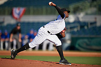 Florida Fire Frogs starting pitcher Touki Toussaint (20) delivers a pitch during a game against the Dunedin Blue Jays on April 10, 2017 at Osceola County Stadium in Kissimmee, Florida defeated Dunedin 4-0.  (Mike Janes/Four Seam Images)