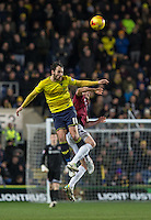 Danny Hylton of Oxford United wins the ball in the air during the Sky Bet League 2 match between Oxford United and Northampton Town at the Kassam Stadium, Oxford, England on 16 February 2016. Photo by Andy Rowland.