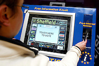 Online voting & information point in the Town Hall, Sheffield, South Yorkshire