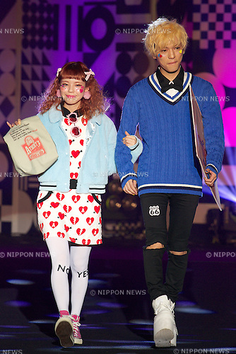"""(L to R) Ayumi Seto, Youdi Kondo,  September 28, 2014, Tokyo, Japan : (L to R) Models Ayumi Seto and Youdi Kondo wearing fashion brand """"Zipper"""" walk down the catwalk during the """"Moshi Moshi Nippon Festival 2014"""" on September 28, 2014 in Tokyo, Japan. Several famous Idols such as Dempagumi idol group, Kyary Pamyu Pamyu and Harayuku models attend the Moshi Moshi Nippon Festival 2014 to promotes the Japanese pop culture (fashion, anime, music and food) to non-Japanese people. (Photo by Rodrigo Reyes Marin/AFLO)"""