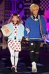 "(L to R) Ayumi Seto, Youdi Kondo,  September 28, 2014, Tokyo, Japan : (L to R) Models Ayumi Seto and Youdi Kondo wearing fashion brand ""Zipper"" walk down the catwalk during the ""Moshi Moshi Nippon Festival 2014"" on September 28, 2014 in Tokyo, Japan. Several famous Idols such as Dempagumi idol group, Kyary Pamyu Pamyu and Harayuku models attend the Moshi Moshi Nippon Festival 2014 to promotes the Japanese pop culture (fashion, anime, music and food) to non-Japanese people. (Photo by Rodrigo Reyes Marin/AFLO)"