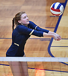 Althoff player Mia Orlet bumps the ball. Althoff lost to Minooka in the championship game of the O'Fallon Class 4A volleyball sectional at O'Fallon HS in O'Fallon, IL on November 6, 2019.<br /> Tim Vizer/Special to STLhighschoolsports.com
