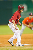 Taylor Dugas #1 of the Alabama Crimson Tide takes his lead off of third base against the Auburn Tigers at Riverwalk Park on March 15, 2011 in Montgomery, Alabama.  Photo by Brian Westerholt / Four Seam Images