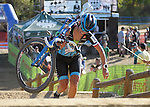 October 17, 2015 - Boulder, Colorado, U.S. - Elite cyclist, Caroline Mani, reaches the top of a difficult run-up during the U.S. Open of Cyclocross, Valmont Bike Park, Boulder, Colorado.