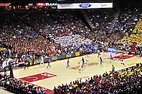 The Terrapins runs a fast break play. Maryland defeated Duke 81-83 at the Comcast Center in College Park, MD on Saturday, February 16, 2013. Alan P. Santos/DC Sports Box