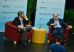 MIAMI, FL - SEPTEMBER 26: Author Salman Rushdie (R) and Mitchell Kaplan presents and sign copies of His new Book 'Joseph Anton: A Memoir' presented by Books and Books at Chapman Conference Center at Miami Dade College on September 26, 2013 in Miami, Florida. (Photo by Johnny Louis/jlnphotography.com)
