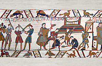 11th Century Medieval Bayeux Tapestry - Scene 45 - Fortified cam built by Williams men