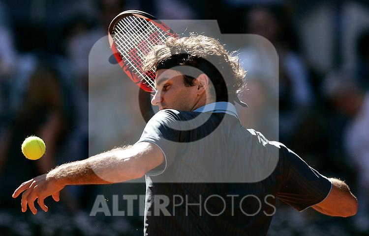 Switzerland's Roger Federer during his Madrid Open final match. May 17, 2009. (ALTERPHOTOS/Alvaro Hernandez)