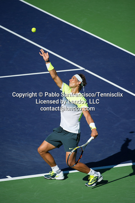 Rafael Nadal (ESP) during his quarterfinal match against Milos Raonic (CAN). Raonic dispatched Nadal in 3 long sets by 46 76(10) 75 at the BNP Parisbas Open in Indian Wells, CA on March 20, 2015.