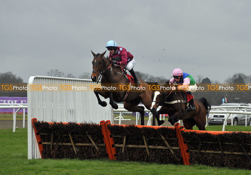 Colonel Alf ridden by Dominic Elsworth balloons a hurdle during the 32Red Novices´ Hurdle Cl4 2m - Horse Racing at Kempton Park, Sunbury, Midddlesex -17/03/2012- MANDATORY CREDIT: Martin Dalton/TGSPHOTO - Self billing applies where appropriate - 0845 094 6026 - contact@tgsphoto.co.uk - NO UNPAID USE.