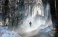 Nederland - Arnhem  - 17 december 2017.  Op 16 en 17 december vond Landleven Winter plaats in het Nederlands Openluchtmuseum. Bezoekers lopen in het bos.  Foto Berlinda van Dam / Hollandse Hoogte.