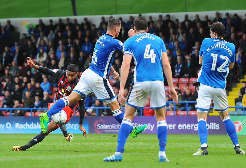 Blackburn Rovers' Dominic Samuel sees his volley blocked by Rochdale's Harrison McGahey<br /> <br /> Photographer Kevin Barnes/CameraSport<br /> <br /> The EFL Sky Bet League One - Rochdale v Blackburn Rovers - Saturday 9th September 2017 - Spotland Stadium - Rochdale<br /> <br /> World Copyright &copy; 2017 CameraSport. All rights reserved. 43 Linden Ave. Countesthorpe. Leicester. England. LE8 5PG - Tel: +44 (0) 116 277 4147 - admin@camerasport.com - www.camerasport.com