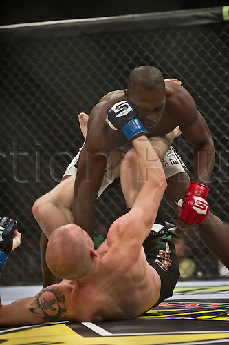 24.06.2011, Washinton, USA.   Jeremy Hamilton lands a blow to the face of Derek Brunson during the STRIKEFORCE Challengers at the ShoWare Center in Kent, Washington. Brunson won by unanimous decision.