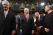 Secretary of State Rex Tillerson (L) and Attorney General Jeff Sessions (R) arrive for US President Donald J. Trump's first address to a joint session of Congress from the floor of the House of Representatives in Washington, DC, USA, 28 February 2017.  Traditionally the first address to a joint session of Congress by a newly-elected president is not referred to as a State of the Union.<br /> Credit: Jim LoScalzo / Pool via CNP