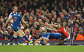 17th March 2018, Principality Stadium, Cardiff, Wales; NatWest Six Nations rugby, Wales versus France; Liam Williams of Wales is tackled by Gael Fickou of France