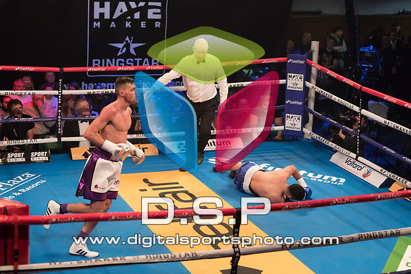 Sam Giley vs Daniel Bazo 4 x 3 Super Light weight Contest During Hayemaker Boxing: Ringstar Fight Night. Photo by: Simon Downing.<br /> <br /> Friday February 16th 2018 - York Hall, Bethnal Green, London, United Kingdom.