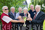 St Brendan's College class of 1965 get their  hands on the Hogan cup at the schools Fayre day on Sunday l-r: Des Hayes, john O'Neill, Gerald dillon, Nart Brambury, Sean Coffey Principal, Patrick O'Connell