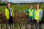 Aine Walsh, Muireann and Cathy O'Brien display the new Deadwood hedge which is man made to encourage bio diversity in the Spa village.