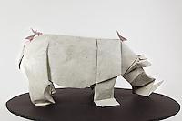 Origami rhino designed by Lionel Albertino folded by Talo Kawasaki. Origami Red-billed Oxpecker birds designed and folded by Talo Kawasaki.