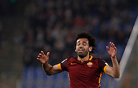 Calcio, Serie A: Roma vs Inter. Roma, stadio Olimpico, 19 marzo 2016.<br /> Roma&rsquo;s Mohamed Salah reacts during the Italian Serie A football match between Roma and FC Inter at Rome's Olympic stadium, 19 March 2016. The game ended 1-1.<br /> UPDATE IMAGES PRESS/Isabella Bonotto