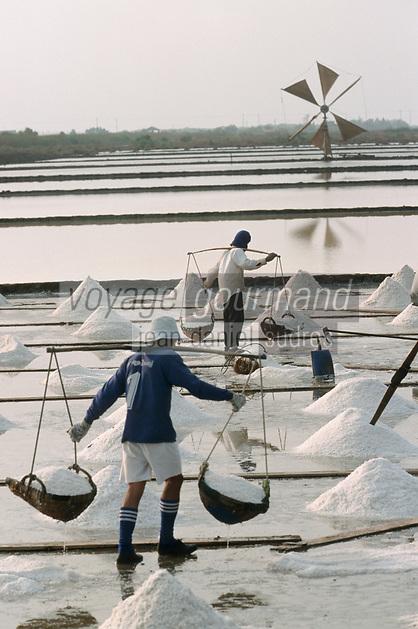 Thaïlande/Bangkok: Récolte du sel dans les marais salants près de Samut Songkram