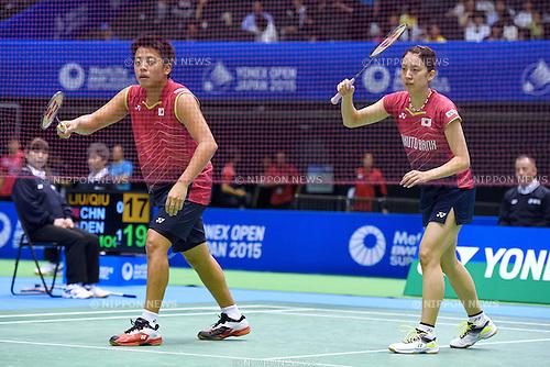 Akira Koga &amp; Koharu Yonemoto (JPN), <br /> SEPTEMBER 9, 2015 - Badminton : <br /> Yonex Open Japan 2015 <br /> Mix doubles 1st round <br /> at Tokyo Metropolitan Gymnasium, Tokyo, Japan. <br /> (Photo by AFLO SPORT)