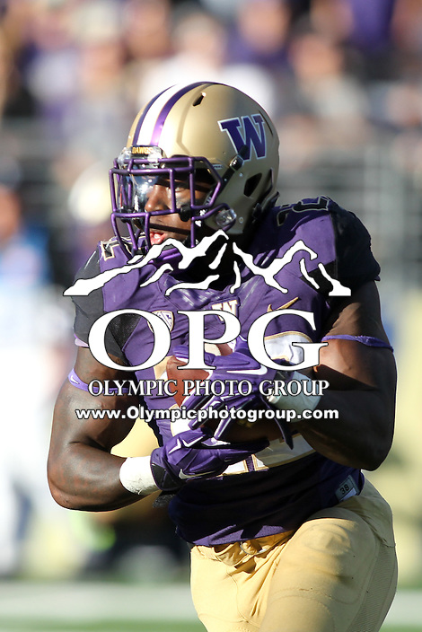 Sept 20, 2014:  Washington's Lavon Coleman against Georgia State.  Washington defeated Georgia State 45-14 at Husky Stadium in Seattle, WA.