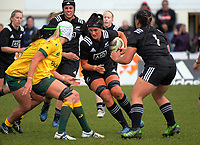 Charmaine Smith takes the ball up during the 2017 International Women's Rugby Series rugby match between the NZ Black Ferns and Australia Wallaroos at Rugby Park in Christchurch, New Zealand on Tuesday, 13 June 2017. Photo: Dave Lintott / lintottphoto.co.nz