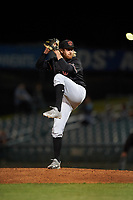 Visalia Rawhide relief pitcher Austin Mason (25) delivers a pitch during a California League game against the Lancaster JetHawks at The Hangar on May 17, 2018 in Lancaster, California. Lancaster defeated Visalia 11-9. (Zachary Lucy/Four Seam Images)