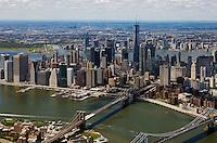 aerial photograph Lower Manhattan, East River, Brooklyn Bridge, New York City