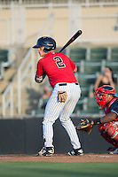 Alex Call (2) of the Kannapolis Intimidators at bat against the Lakewood BlueClaws at Kannapolis Intimidators Stadium on August 11, 2016 in Kannapolis, North Carolina.  The Intimidators defeated the BlueClaws 3-1.  (Brian Westerholt/Four Seam Images)