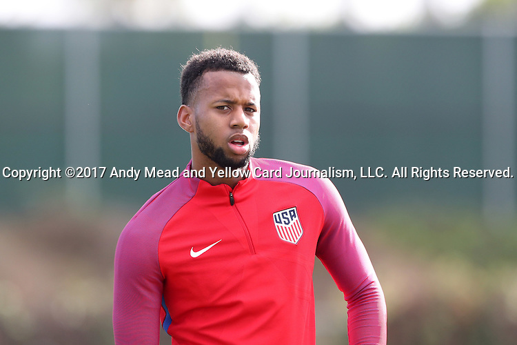 11 January 2017: Kellyn Acosta. The United States Men's National Team held their first training session under new head coach Bruce Arena on The Murphy Family Field at the StubHub Center in Carson, California.