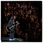 "Dave Grohl  of the Foo Fighters plays an accoustic solo encore for ""the cheap seats"" at MSG, November 13, 2011 during their Wasting Light tour."