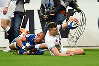 Jonny May of England scores a try in the second half. Natwest 6 Nations match between France and England on March 10, 2018 at the Stade de France in Paris, France. Photo by: Patrick Khachfe / Onside Images