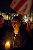 Annual vigil against homophobic hate crime in Trafalger Square London.