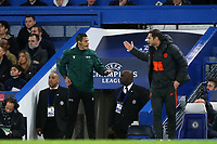 Chelsea Manager, Frank Lampard exchanges words with fourth official, Maurizio Mariani during Chelsea vs AFC Ajax, UEFA Champions League Football at Stamford Bridge on 5th November 2019
