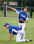 TORRINGTON CT. 27 July 2017-072717SV02-#6 Jake Nelson throws over #1 Rick Burdick of the Wolcott Storm in the 2nd inning against the Colton, CA. Nighthawks during the Mickey Mantle World Series in Torrington Thursday.<br /> Steven Valenti Republican-American